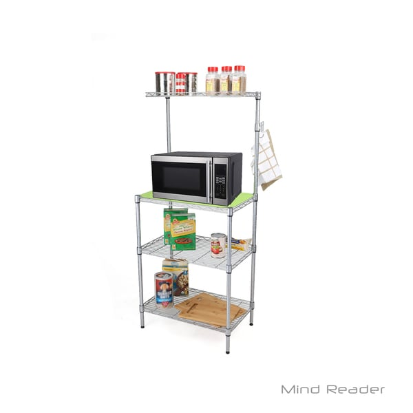 Mind Reader 3 Tier Microwave Shelf Counter Unit with Hooks