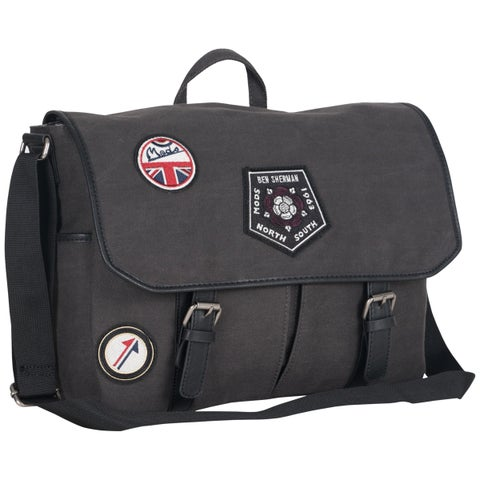 Ben Sherman Military Distressed Cotton Canvas Flapover 15-inch Laptop Messenger Bag