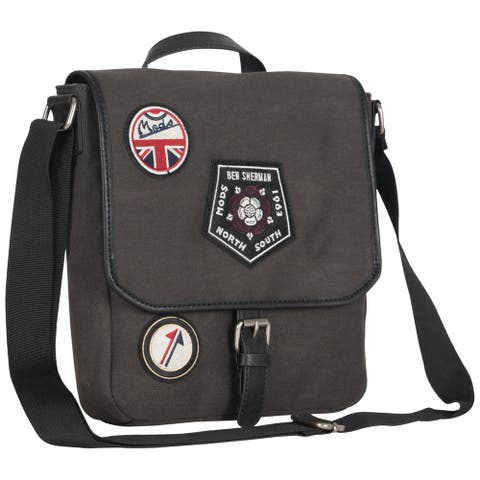 Ben Sherman Military Distressed Cotton Canvas Single Compartment Flapover Tablet Messenger Bag