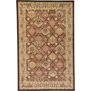 Agra Light Green/Brown Traditional Indoor/Outdoor Area Rug (5' x 8')