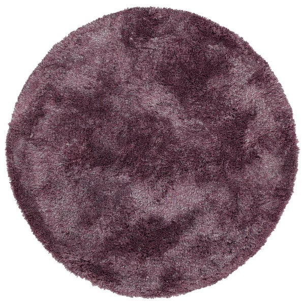 Hand-Tufted Silky Shag Lilac Polyester Round Rug - 4' Round
