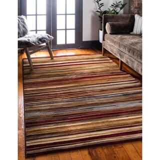 Coffee Shop Beige/Brown Stripe Indoor/Outdoor Area Rug (5' x 8')