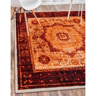 Istanbul Orange/Red Floral Area Rug (13' x 19'8)