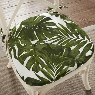 Madison Park Navio Green Palm Indoor/ Outdoor Chair Pad Pair (Set of 2)
