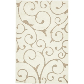 Light Brown/Off-White Floral Shag Area Rug (5' x 8')