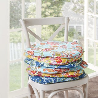Madison Park Cambria Floral Indoor/ Outdoor Chair Pad Pair (Set of 2) - 3 Color Option