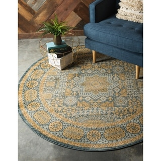Turkish Palace Blue/Brown Floral Round Area Rug (6' x 6')
