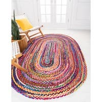Unique Loom Vibrant Braided Chindi Oval Rug - 5' x 8'