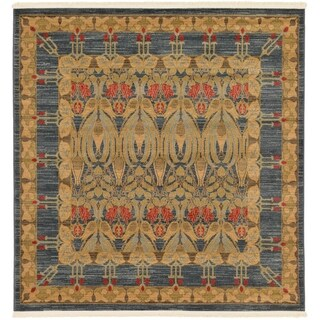 Heritage Navy Blue and Cream Floral Square Traditional Rug (6' x 6')