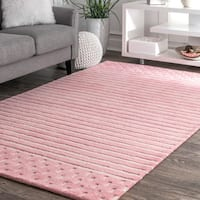 nuLOOM Contemporary Coastal Solid Stripes Natural Wool Pink Rug - 5' x 8'