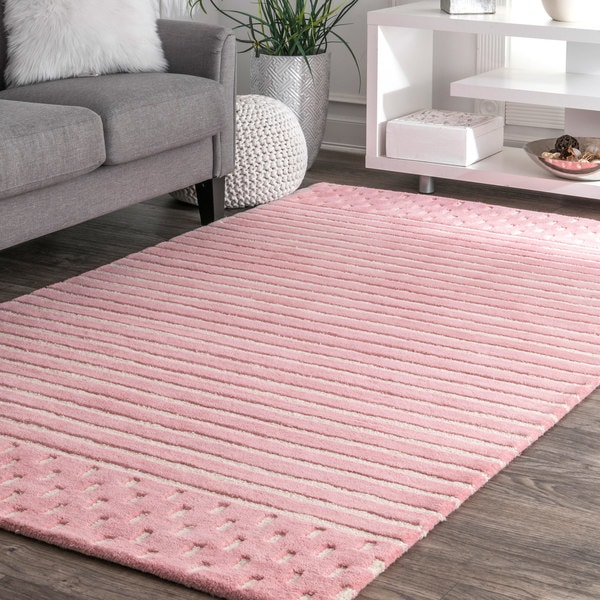pink rugs rose wayfair ivorypink shag pdx rug area ivory messiah bungalow reviews