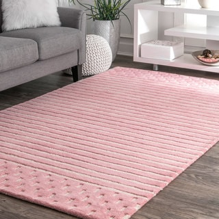 nuLoom Contemporary Coastal Pink Solid Stripes Natural Wool Rug (7'6 x 9'6)
