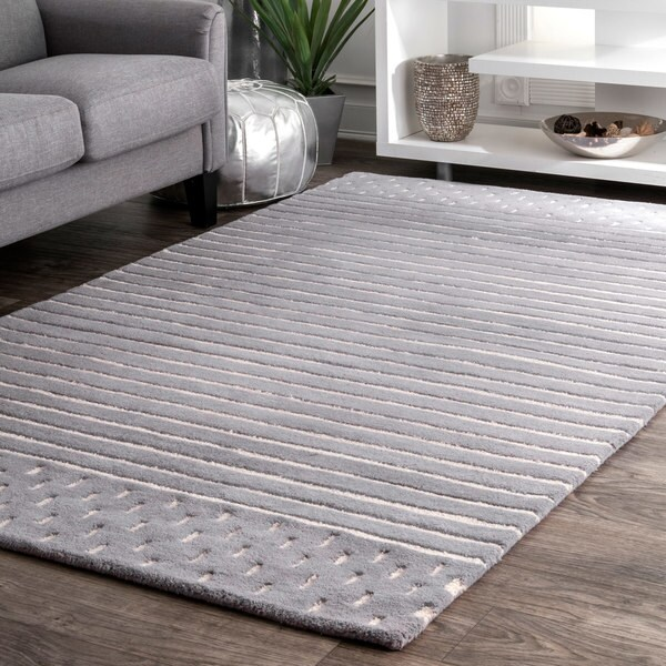 Nuloom Grey Wool Contemporary Coastal Solid Striped Rug 7 X27 6 X 9