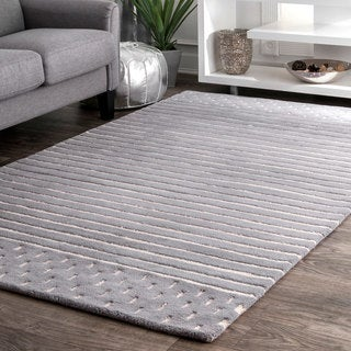 nuLOOM Contemporary Coastal Solid Stripes Natural Wool Grey Rug  (5' x 8')