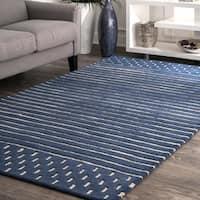 "nuLoom Coastal Solid Stripes Navy/Off-white Wool Rug (7'6 x 9'6) - 7'6"" x 9'6"""