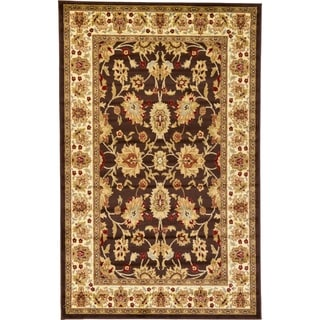 Agra Brown/Cream Floral Area Rug (5' x 8')