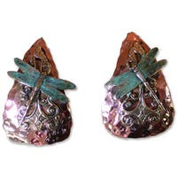 Handmade Patina  Dragonfly Forged Copper  Earrings (USA) - White