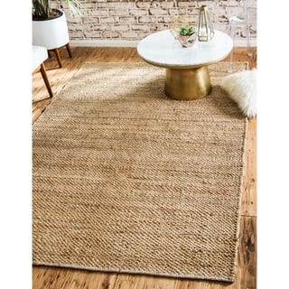 Chunky Jute Natural Beige Solid Area Rug 8 X