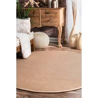 Havenside Home Clearwater Natural Fiber Reversible Cotton Border Jute Beige Round Area Rug - 6' Round