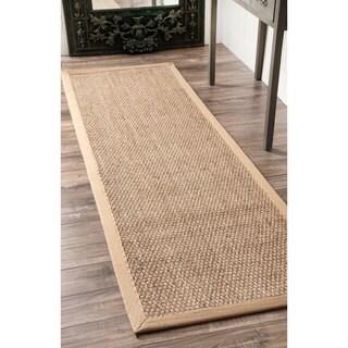 Havenside Home Clearwater Handmade Natural Fiber Cotton Border Seagrass Beige Runner Rug - 2'6 x 6'
