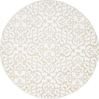 Himalaya Snow White  Floral Round Rug (5' x 5')