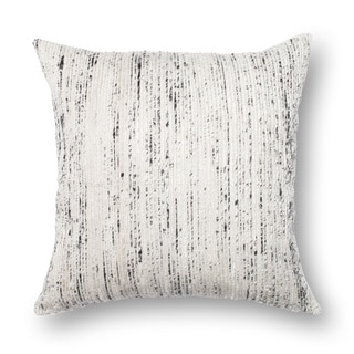 Textured Silver/ Ivory Stripe Down Feather or Polyester Filled 22-inch Throw Pillow or Pillow Cover