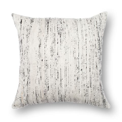 Textured Silver/ Ivory Stripe 22-inch Throw Pillow or Pillow Cover