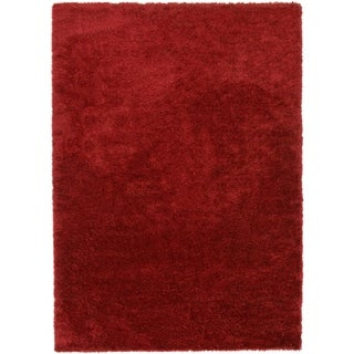 Luxe Solo Red/Off-white Solid Area Rug (7' x 10')