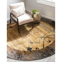 Unique Loom Excelsa Coffee Shop Round Rug - 8' 0 x 8' 0