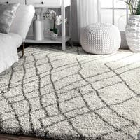 nuLoom Moroccan Inspired Ivory/Brown Abstract Shag Area Rug - 9' x 12'