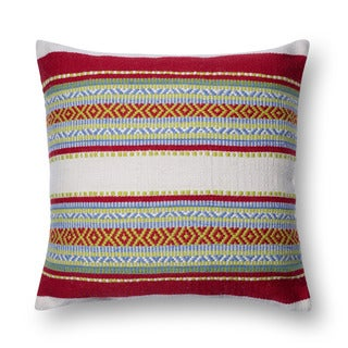 Woven Red/ Multi Geometric 22-inch Throw Pillow or Pillow Cover