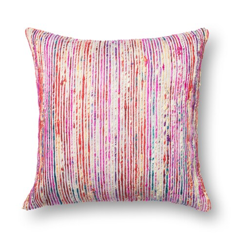 Textured Red/ Multi Stripe 22-inch Throw Pillow or Pillow Cover