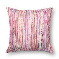 Textured Red/ Multi Stripe Throw Pillow or Pillow Cover 22 x 22