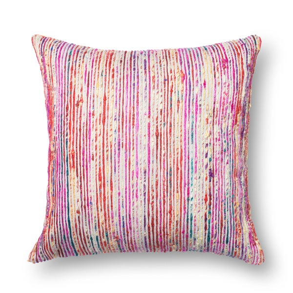 Textured Red Multi Stripe 22 Inch Throw Pillow Or Cover