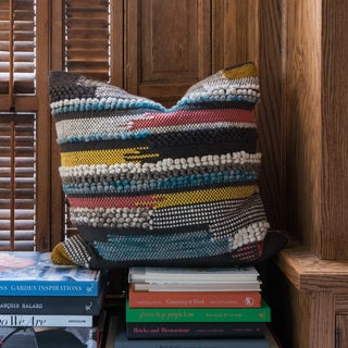 Woven Multi Uptown Down Feather or Polyester Filled 22-inch Throw Pillow or Pillow Cover