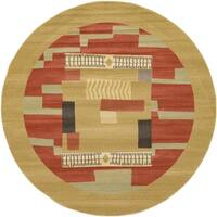 Unique Loom Jefferson Fars Round Rug - 8' x 8'