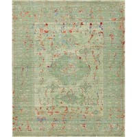 Aria Green and Red Medallion Area Rug (8' x 10')