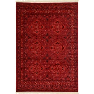 Bokhara Red/ Cream Abstract Area Rug (7' x 10')