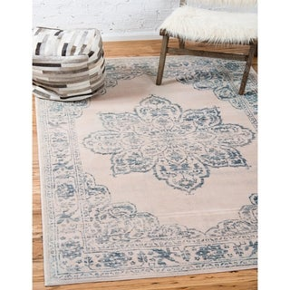 Turkish Restoration Kensington Beige/Blue Floral Area Rug (9' x 12')