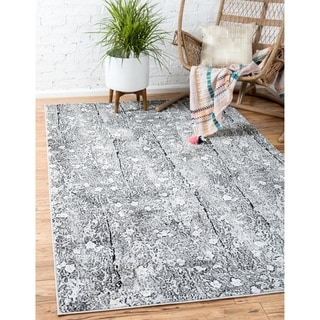 Metro Floral Dark Grey/Cream Area Rug (9' x 12')