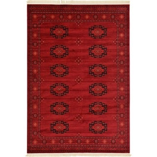 Turkish Bokhara Red Abstract Area Rug (7' x 10')