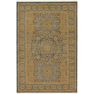 Palace Blue and Beige Floral Area Rug (6' x 9')
