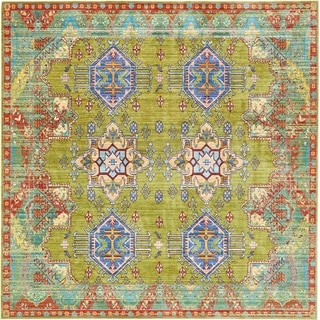 Aria Floral Light Green/ Blue Square Rug (8' x 8')