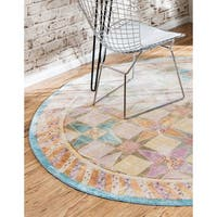 Unique Loom Serenade Austin Round Rug - Multi - 6' x 6'
