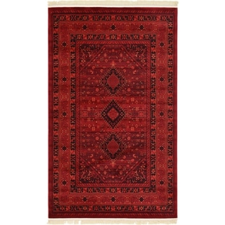 Bokhara Red/Black Abstract Area Rug (5' x 8')