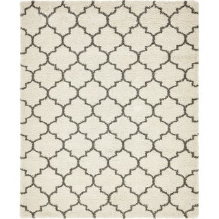Marrakesh Shag Pure Ivory/Grey Moroccan Area Rug (8' x 10')