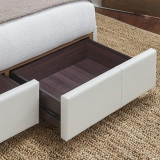Delaney Storage Bed with Faux-Leather Fabric and (2) Footboard Drawers