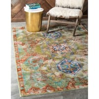 Aria Light Green/Brown Floral Area Rug (9' x 12')
