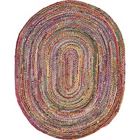 Unique Loom Vibrant Braided Chindi Oval Rug - 8' x 10'