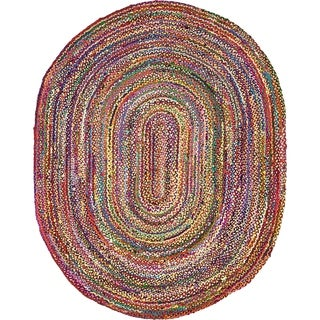 Multicolor/Red Cotton Abstract Braided Chindi Oval Rug (8' x 10')